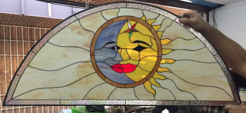 Cute!!! Cozy Sun, Moon & Star Leaded Stained Glass Window Panel
