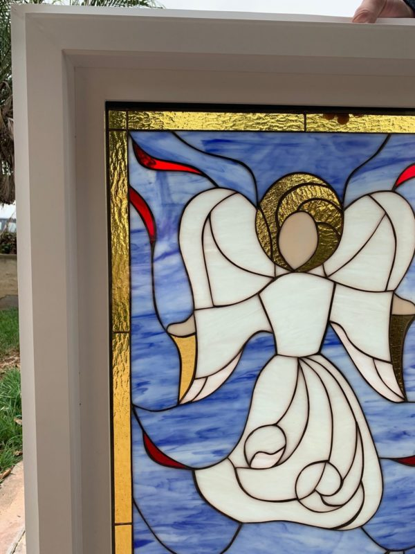 Lovely! Angel and Doves Stained Glass Window (Insulated In Tempered Glass & Vinyl Framed)