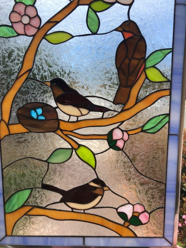 Lovely! Birds And Blossoms Stained Glass Window Panel