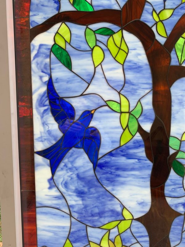 Bluebird Blossom Paradise Stained Glass Window Insulated & Pre-Installed in a Vinyl Frame