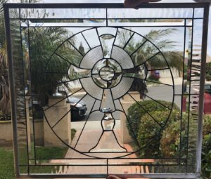 All Clear Beveled Cross Beveled Stained Glass Window Panel