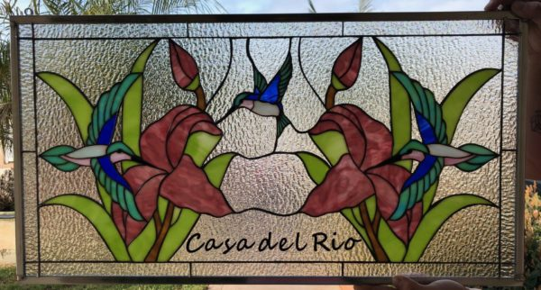 So nice! Mirrored Hummingbird & Lily Stained Glass Window Panel (Personalized with your text)
