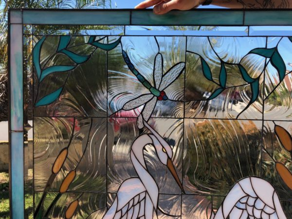 White Egret, Dragonfly & Waterlilies Stained Glass Window Panel