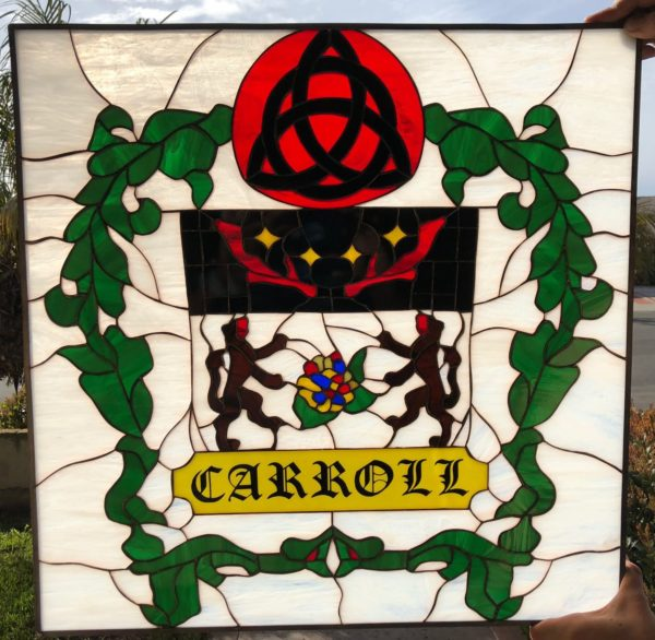 Irish Coat Of Arms Contemporary Stained Glass Window Panel   (Personalized with your name)
