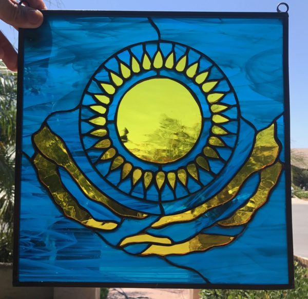 Kazakhstan Flag Stained Glass Window Panel
