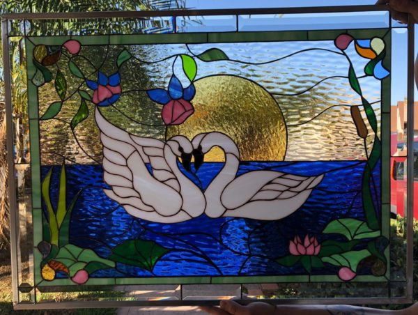 Charming! Swans In Love Stained Glass Window Panel