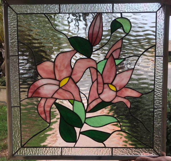 Gorgeous!  Pink Stargazer Lily Flower Stained Glass Window Panel