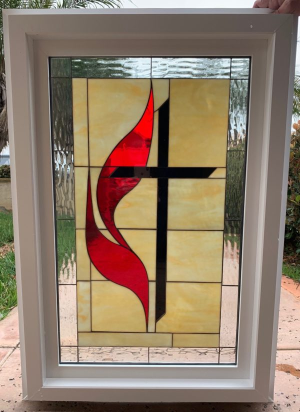 Pretty!  Methodist Cross Stained Glass Window (Insulated In Tempered Glass & Vinyl Framed)