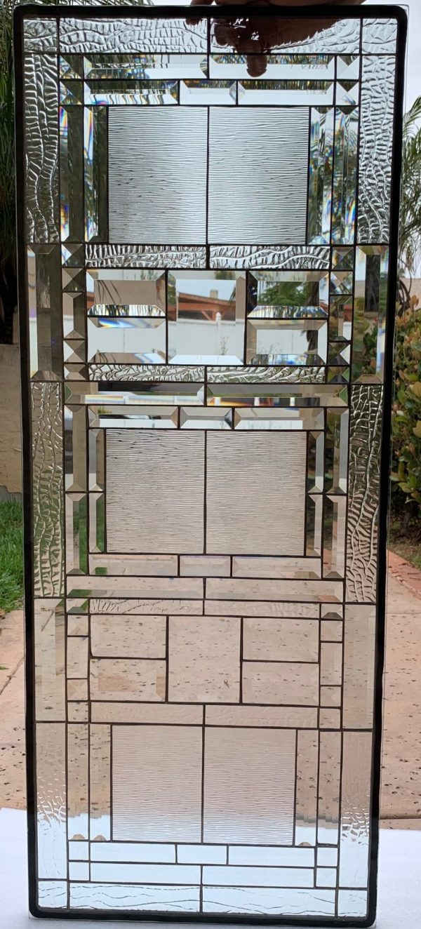 """The """"Menlo Park"""" Craftsman Mission Beveled Stained Glass Window Panel"""