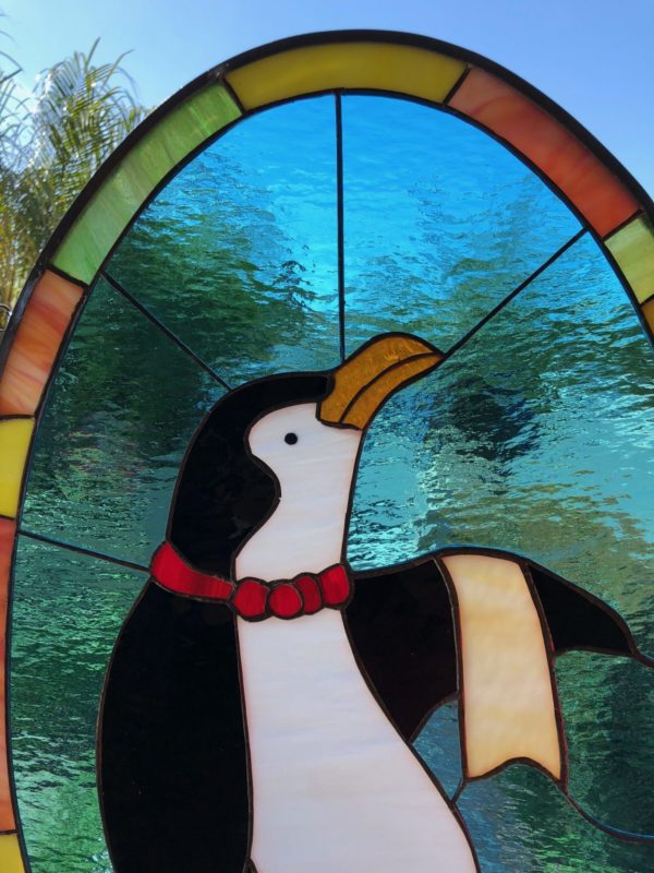 The Penguin Waiter Stained Glass Window Panel