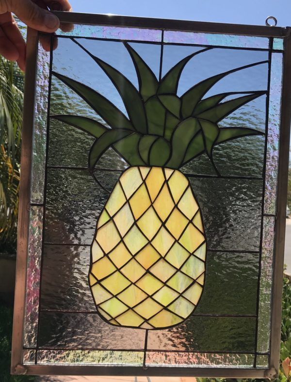 Fresh Harvested Pineapple Stained Glass Window Panel