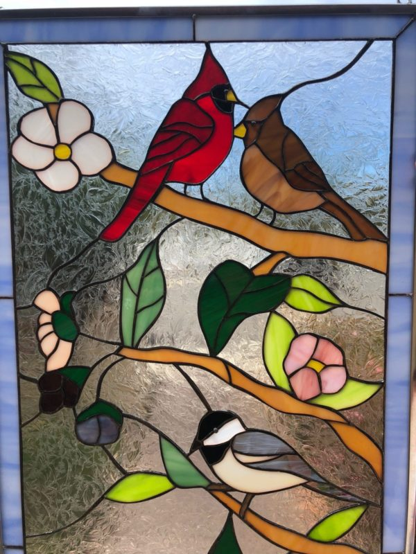 Lovely! Birds And Blossoms Stained Glass Window Panel#2
