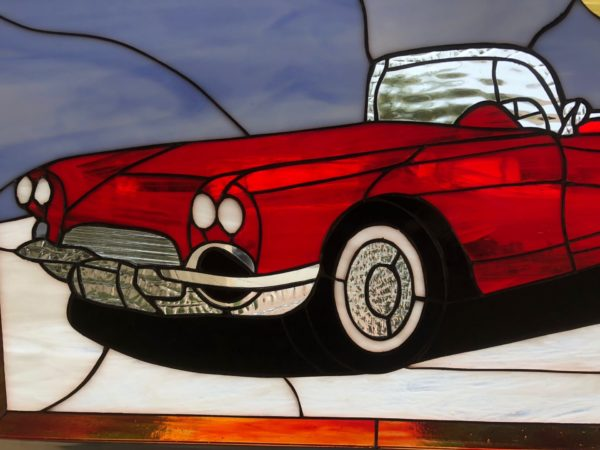 Classic Red Corvette Stained Glass Window Panel