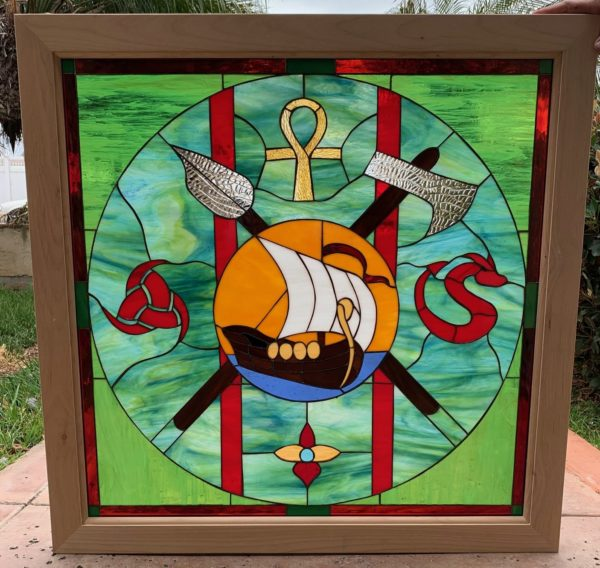 All Original! Wood framed  Viking Ship Themed Stained Glass Window Panel