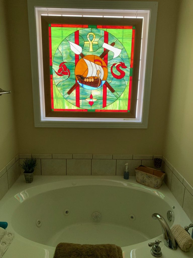 Unique! Viking Theme stained Glass Bathroom Window For Privacy & Beauty