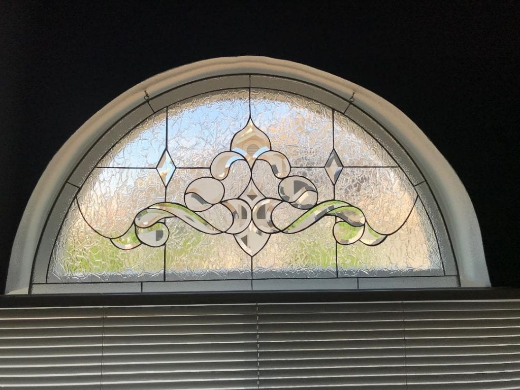 Classic! Arched Beveled Leaded Glass Window Installed In A Client's Living Room
