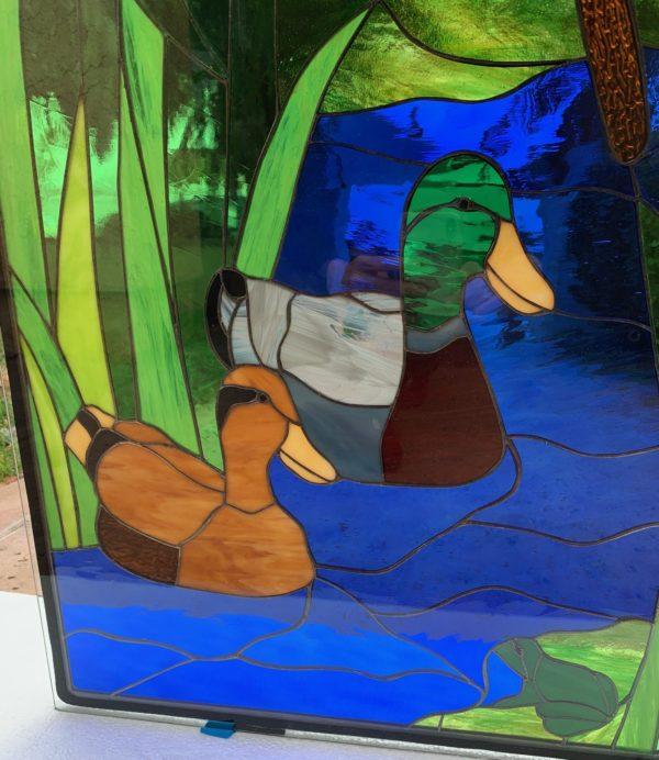 Mallard Ducks & Red Cardinal Stained Glass Window Panel
