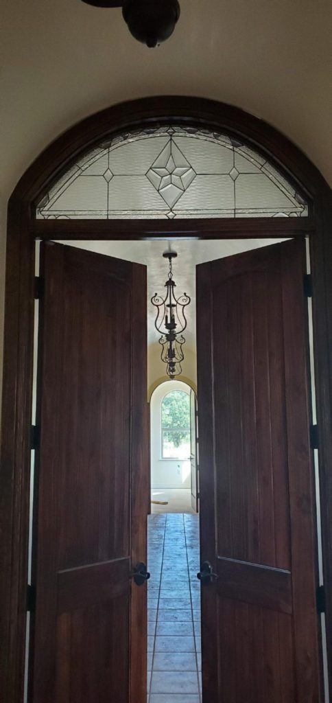 Arched Stained Glass Transom Window Installed In Texas