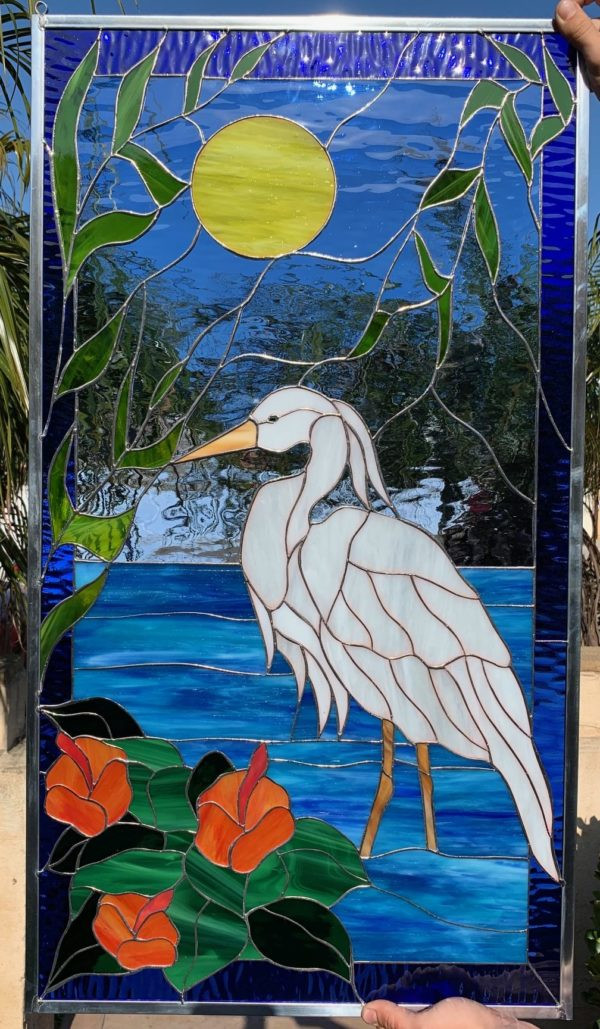 Magnificent! Egret Heron And Hibiscus Flowers Stained Glass Window Panel