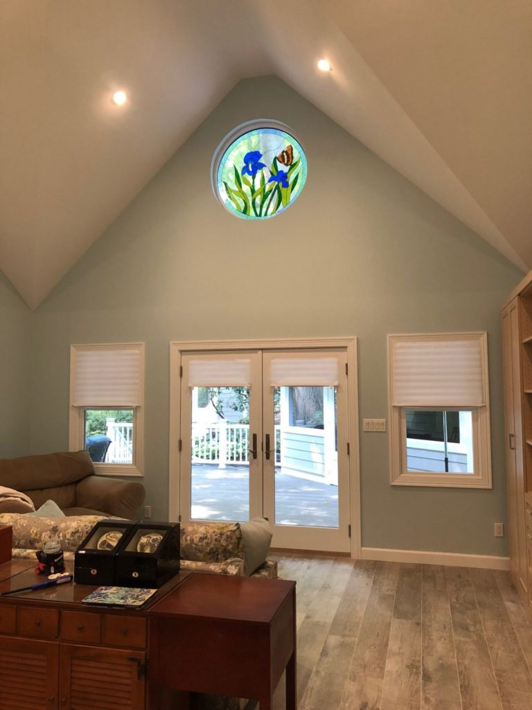 """42"""" Round Iris & Butterfly Window Installed In A Client's Living Room, Also Provides Massive Curb Appeal!"""