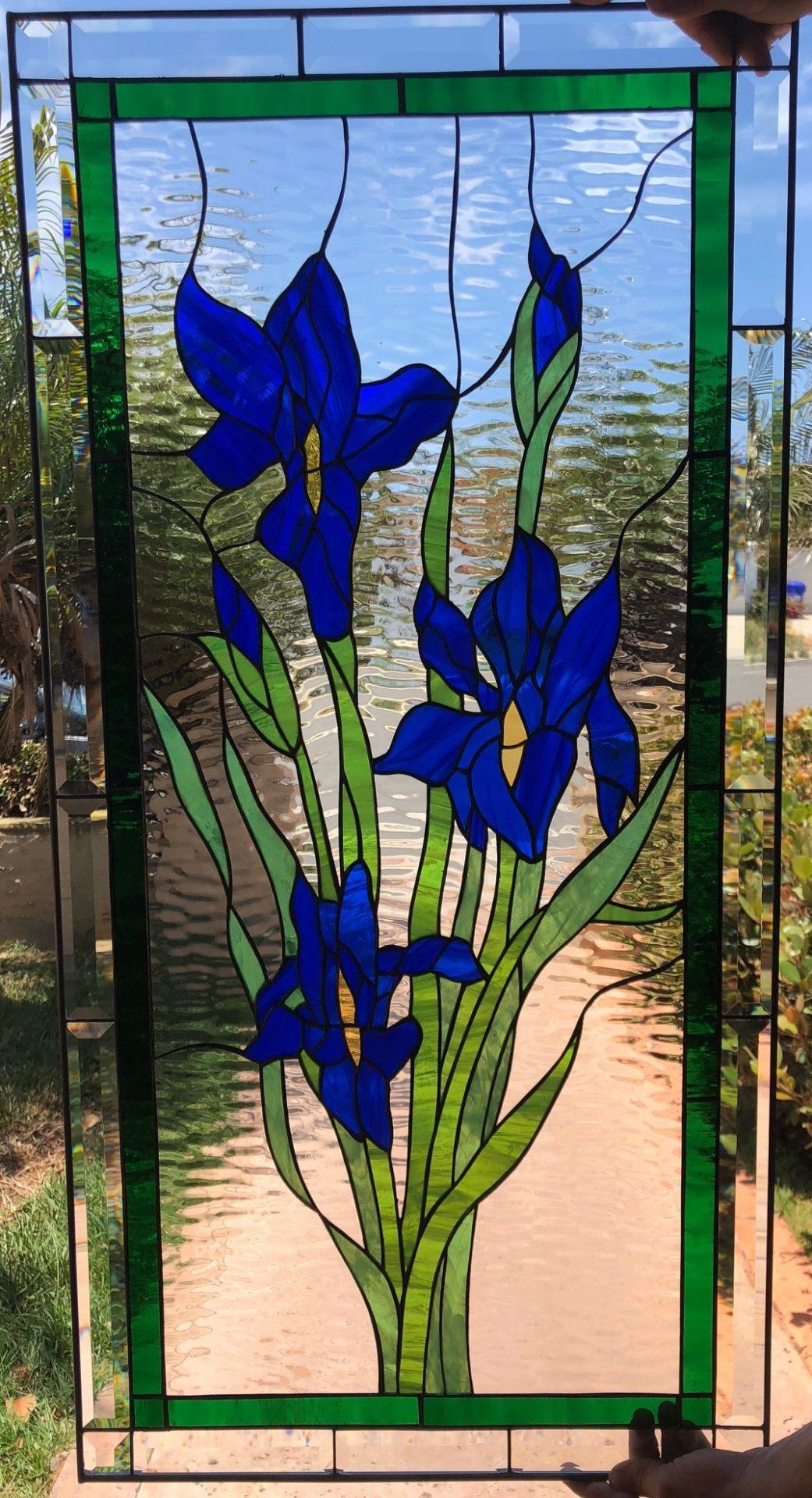Wow Waterglass Iris Stained Glass Window Panel