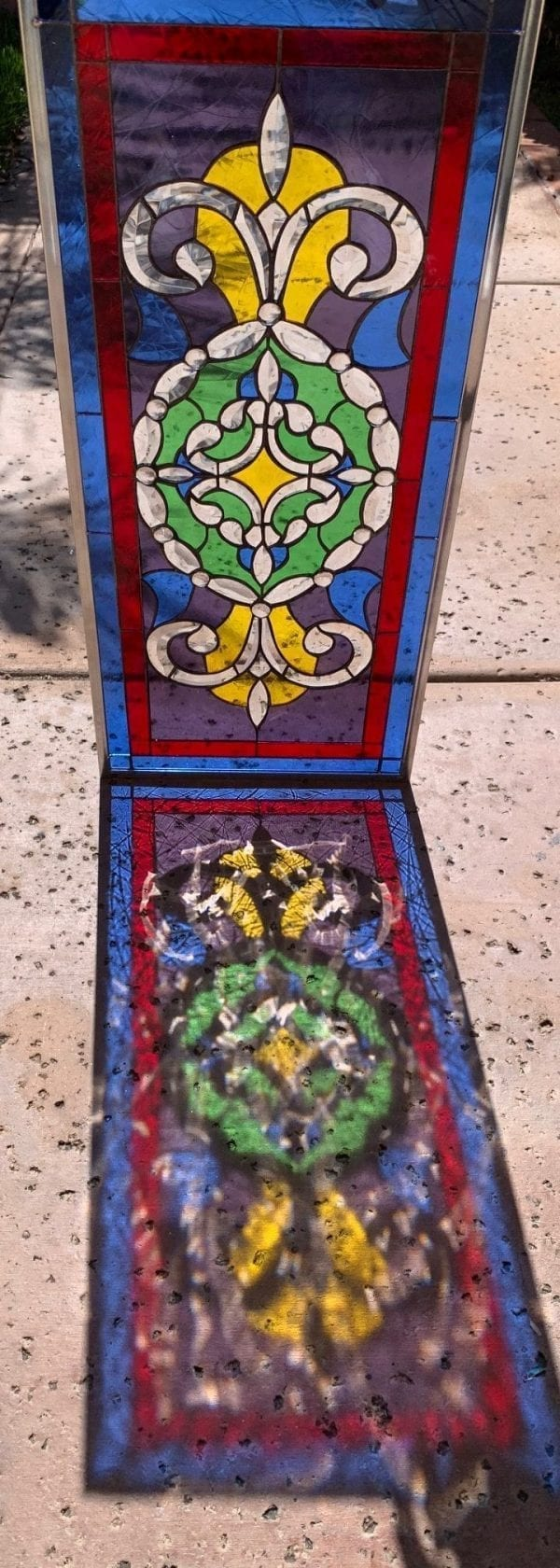 Colorful! Victorian Jeweled & Beveled Window  Stained Glass Window Panel
