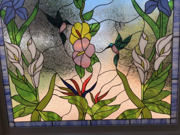 Large 4 x 4 Hummingbird, Butterfly, Hibiscus & Iris Stained Glass Window