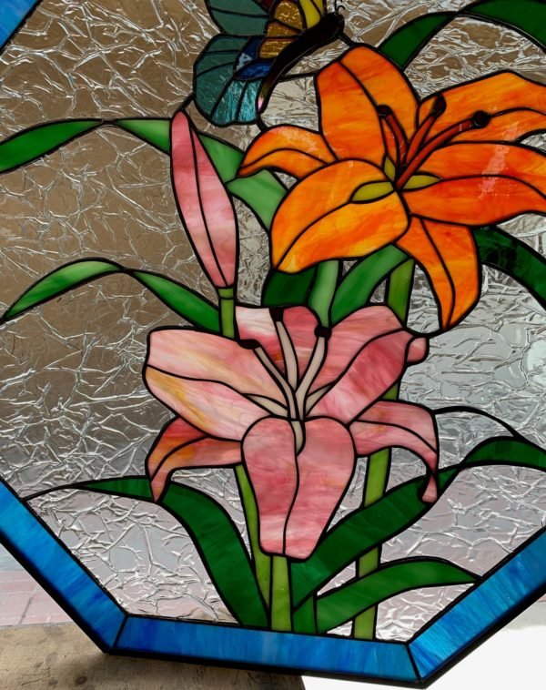 Magnificent! Lilies & Butterfly Octagon Stained Glass Panel