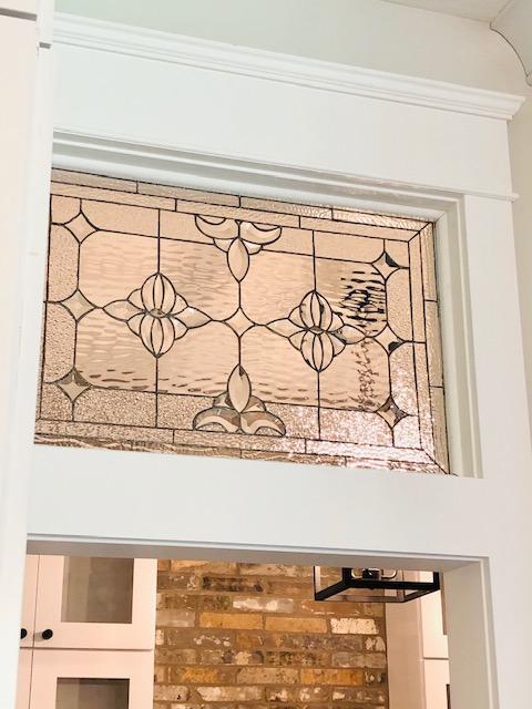 Stylish! Single Pane Stained & Beveled Glass Interior Transom Window