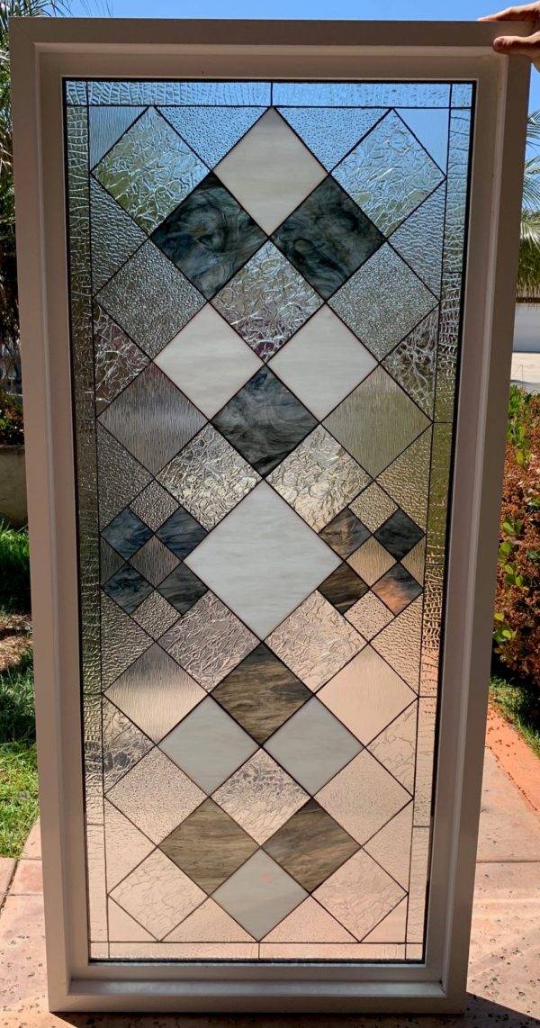 """Classy!  The """"Sugarloaf #2"""" Clear Textured & Beveled Stained Glass Window (Insulated In Tempered Glass & Vinyl Framed)"""