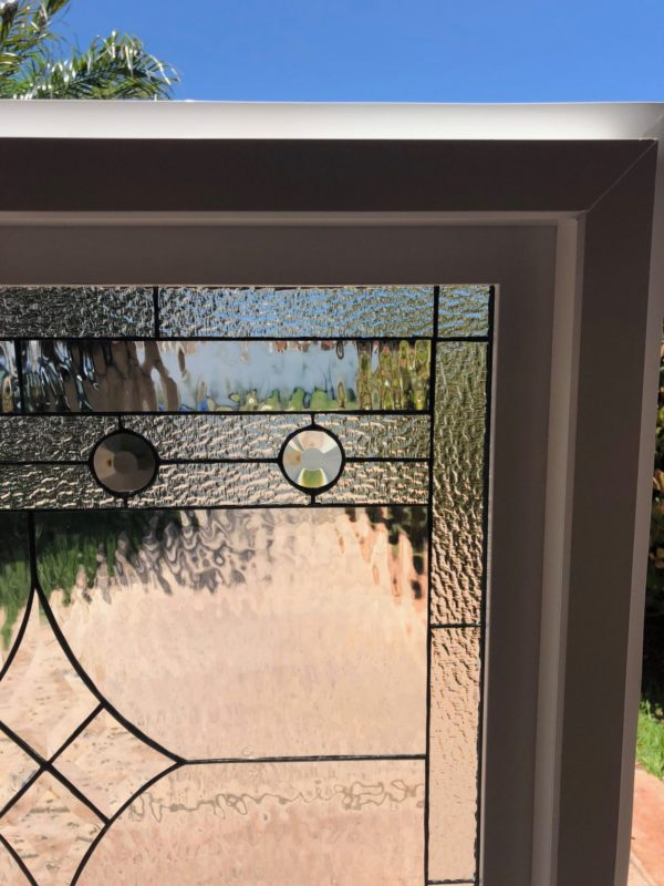 """The """"Poway"""" Beveled & Stained Glass Window (Insulated In Tempered Glass & Vinyl Framed)"""