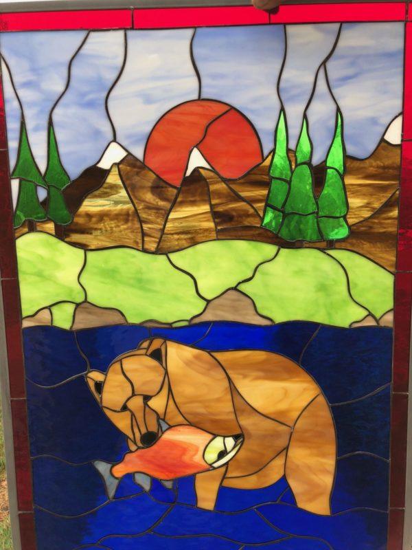 Beautiful! Wild Bear Hunting Salmon In Alaska Window Panel #1