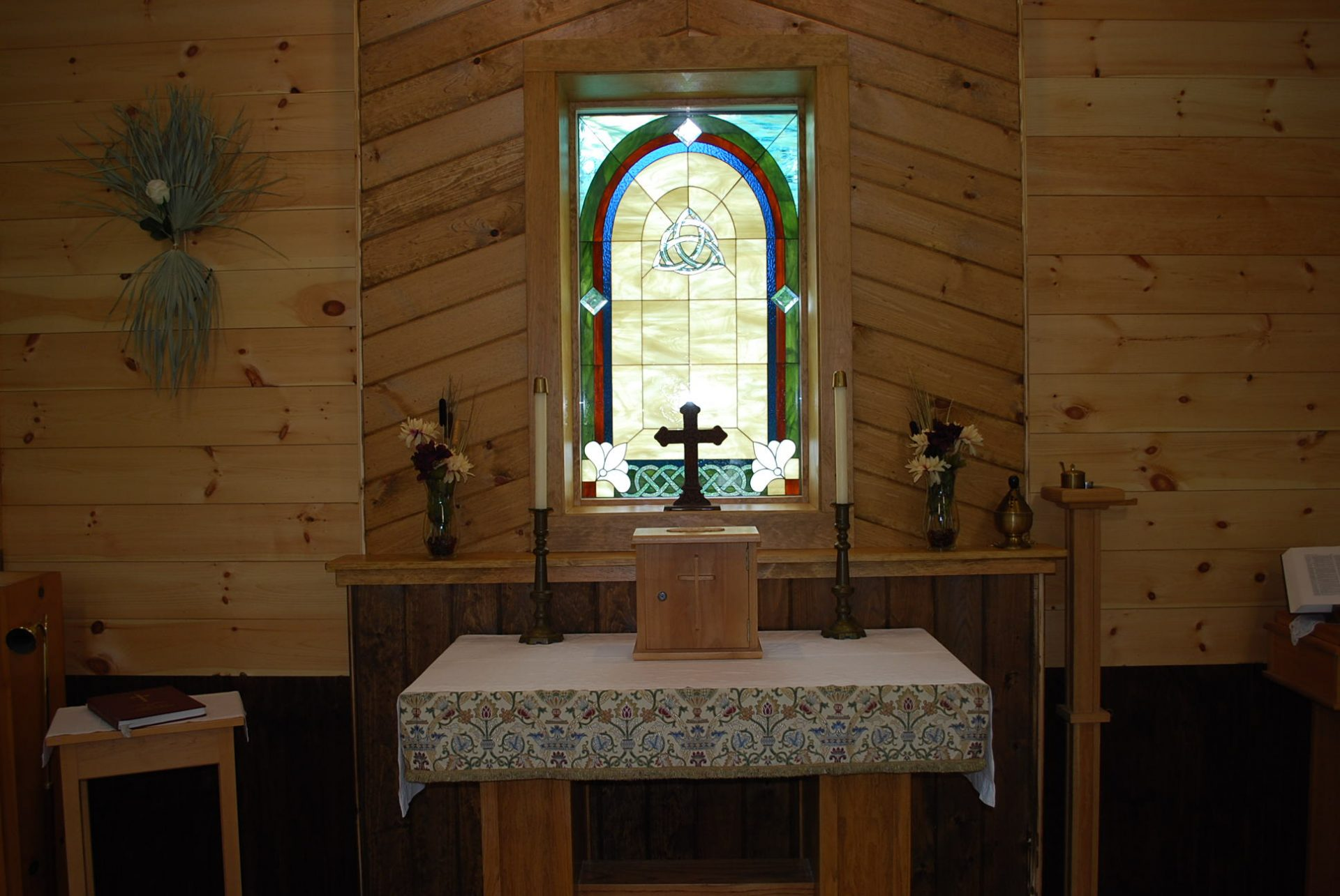 Beautiful Celtic Stained Glass Window Installed In A Chapel