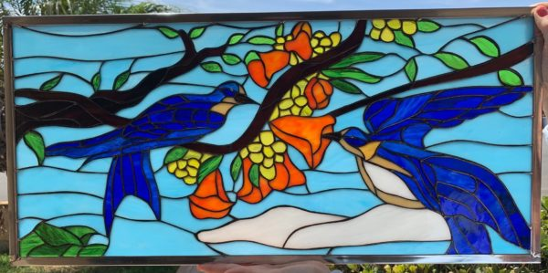 Pretty! Bluebirds and Blossoms Stained Glass Window Panel