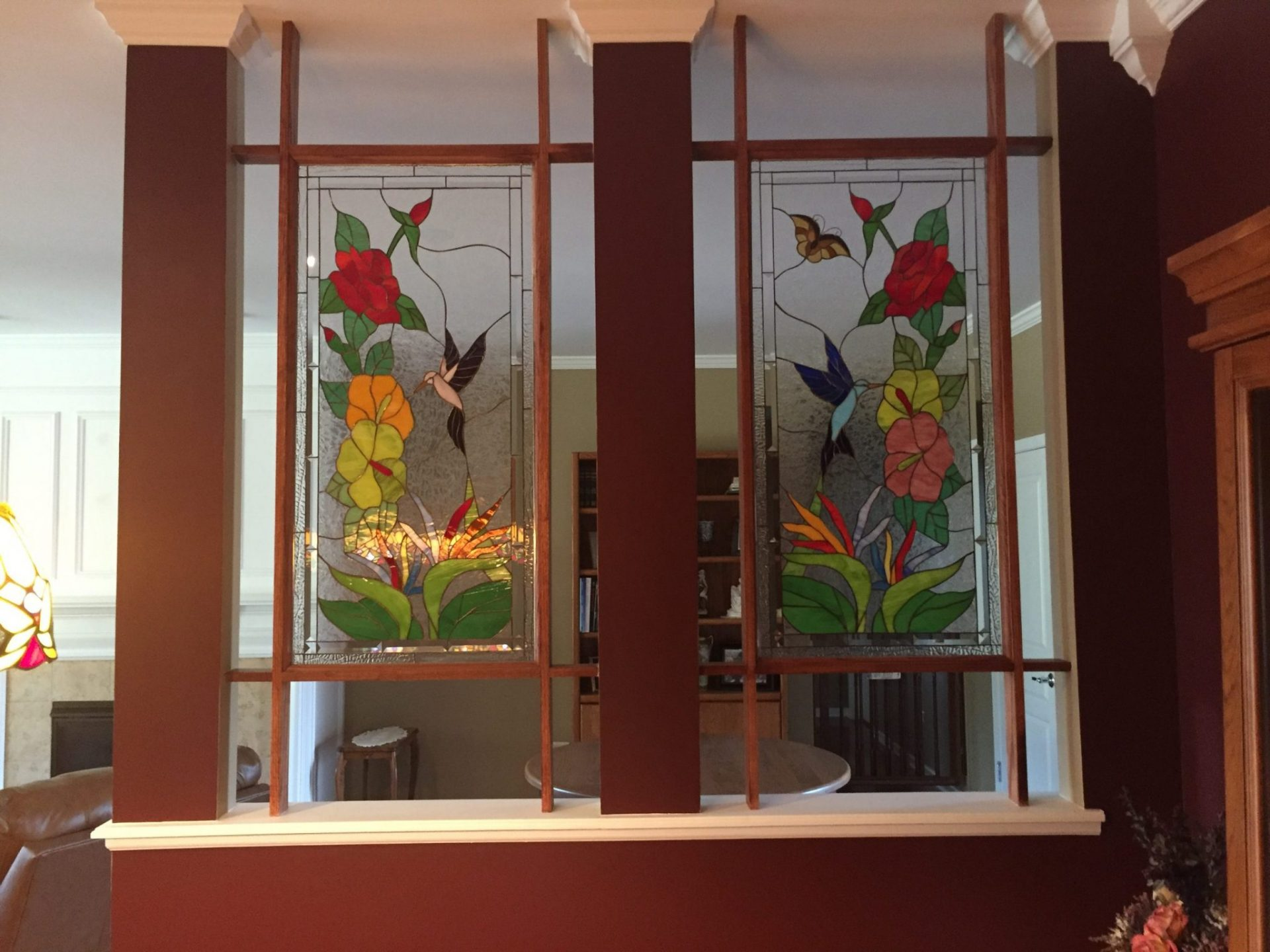 Two Segmented Hummingbird Stained Glass Panels Room Partition