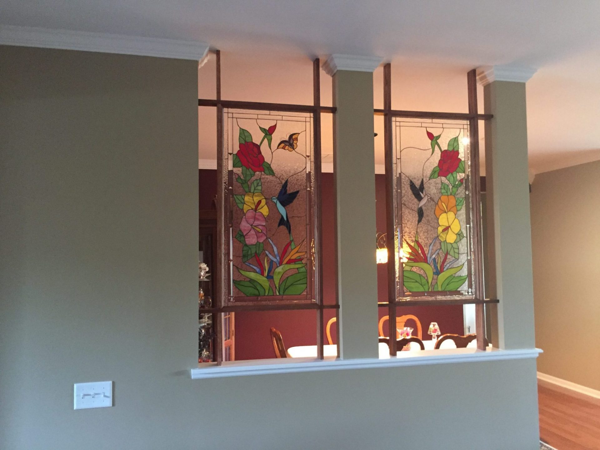 Hummingbird Stained Glass Panels Room Partition
