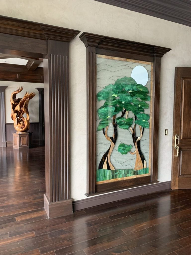 Two Large Stained Glass Triple Pane Windows Used As Wall Decor