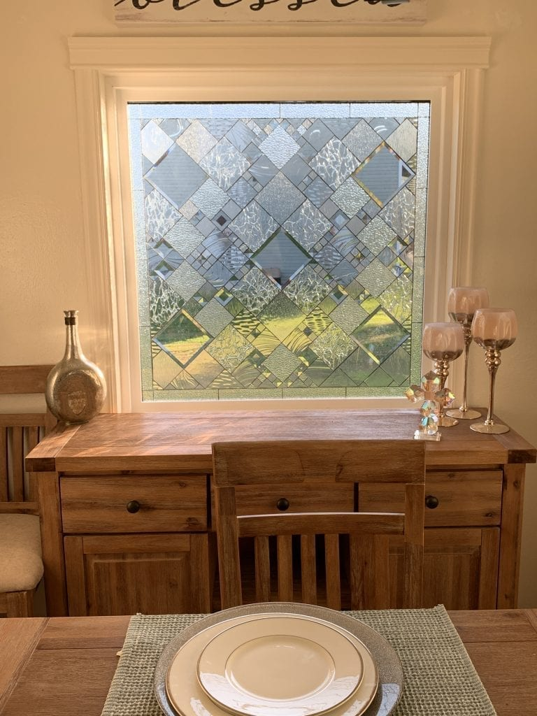 "Wow!  The ""Sugarloaf""  All Beveled And Clear Textured Leaded Stained Glass Window Installed In Client's Living Room"