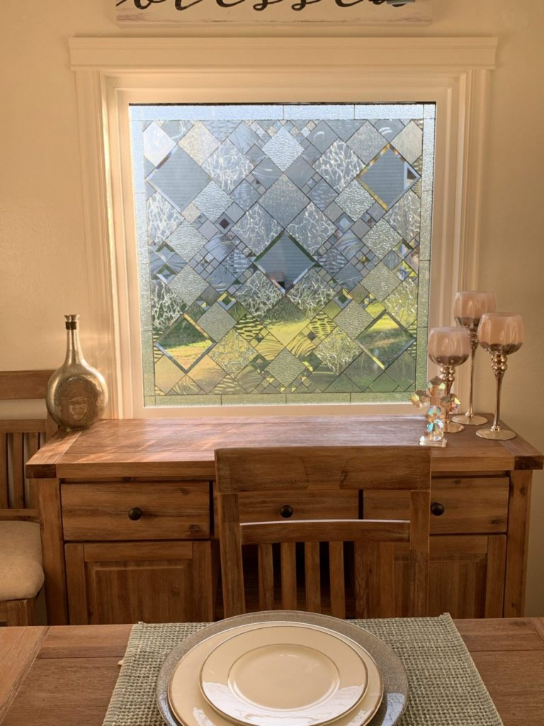 """Wow! The """"Sugarloaf"""" All Beveled And Clear Textured Leaded Stained Glass Window Installed In Client's Living Room"""