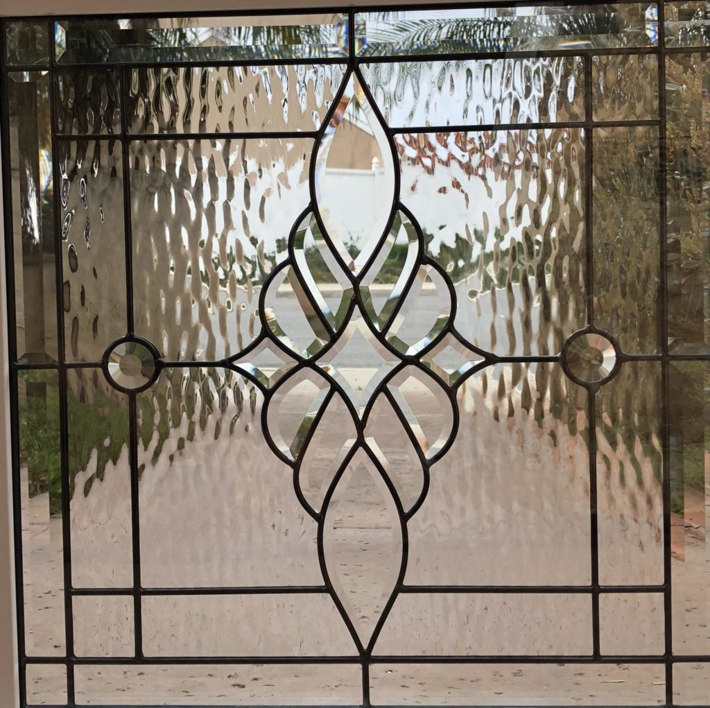 The Elegant Brentwood Beveled Leaded Stained Glass Window (Insulated In Tempered Glass & Framed)