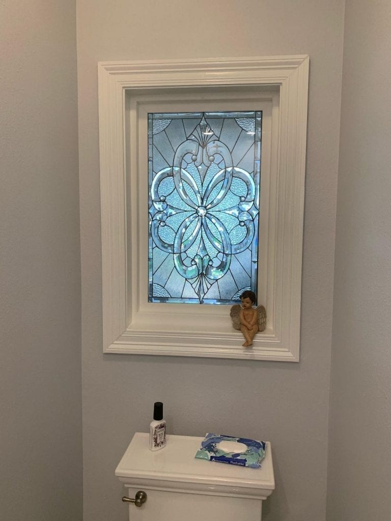 """The lovely """"Pacifica"""" All Clear Beveled Window Installed In A Client's Bathroom For Beauty And Light"""
