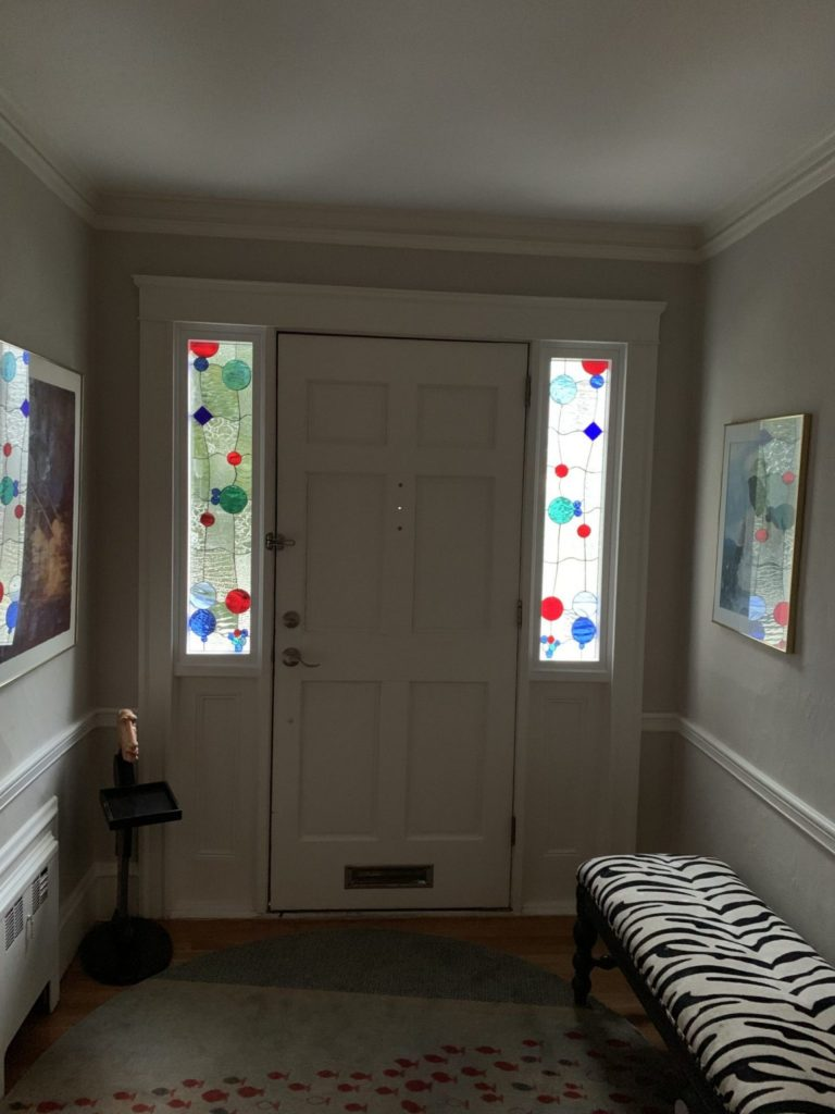 Abstract Bubbles Stained Glass Sidelites for Privacy & Natural Light from exterior