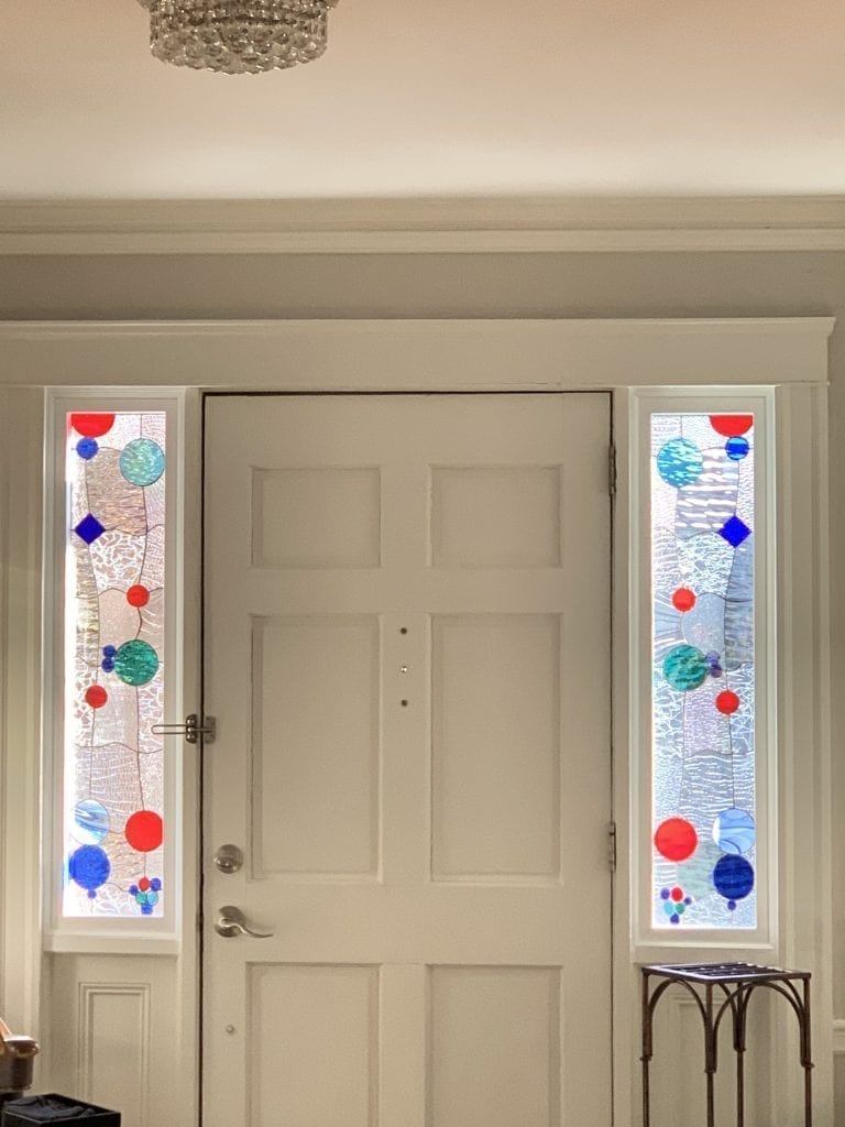 Lovely Abstract Bubbles Stained Glass Sidelites for Privacy & Natural Light