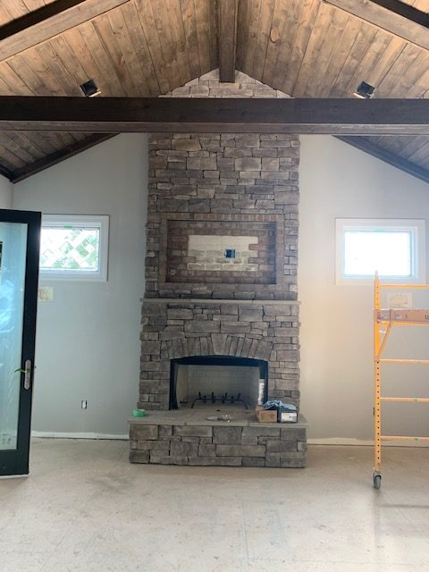Beveled All Clear Leaded Windows Installed In A Living Room
