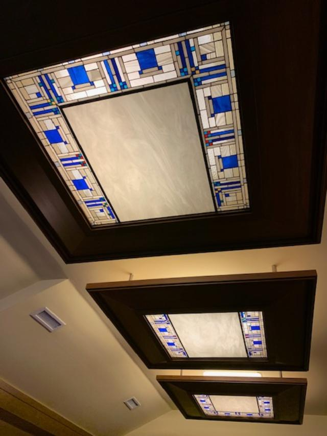 Stained Glass Panels Used In A Ceiling In A Home Movie Theater