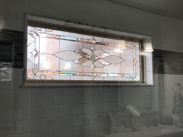 All Clear Texture & Beveled Glass Insulated Window Installed In Shower Area