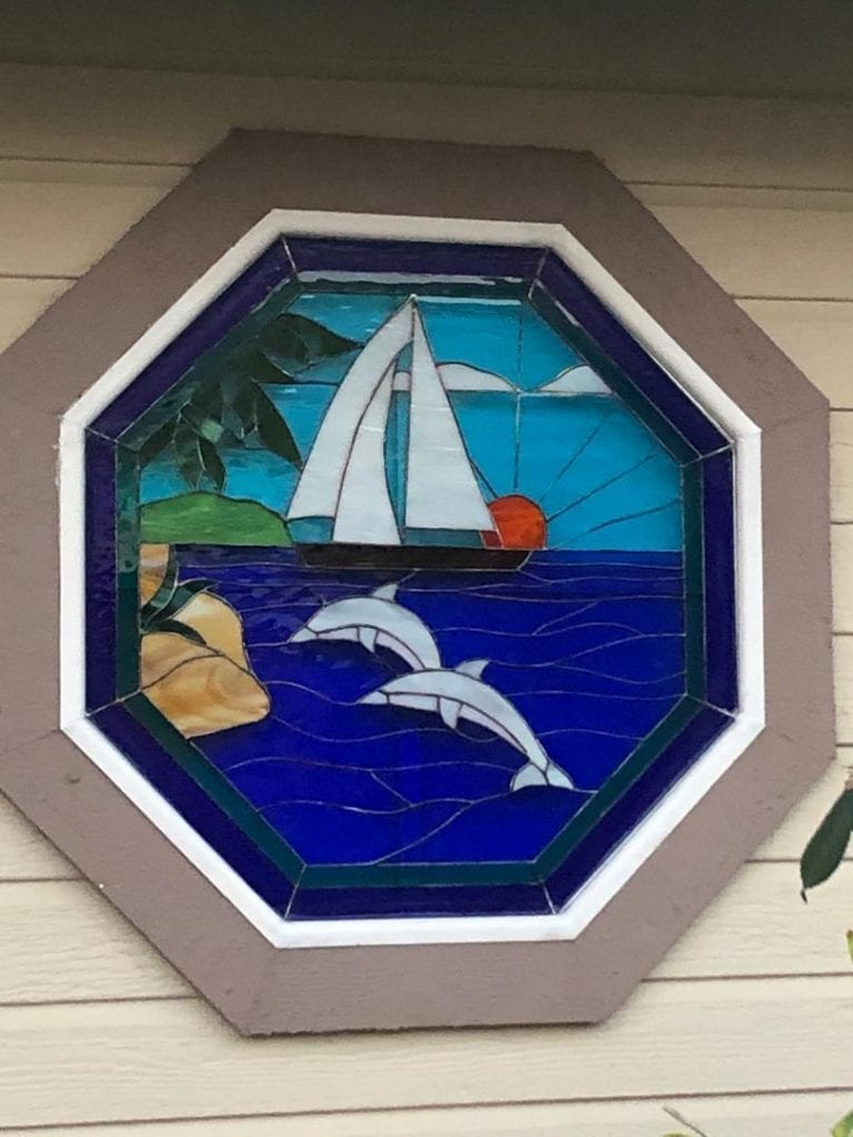 After! Pretty Sailboat And Dolphin Octagonal Stained Glass Window