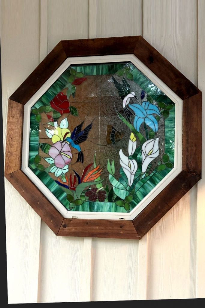 Vibrant!! Hummingbirds & Flowers Octagonal Stained Glass Window