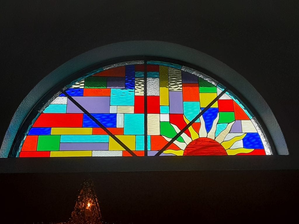 Mirrored Arched colorful sun setting Stained Glass