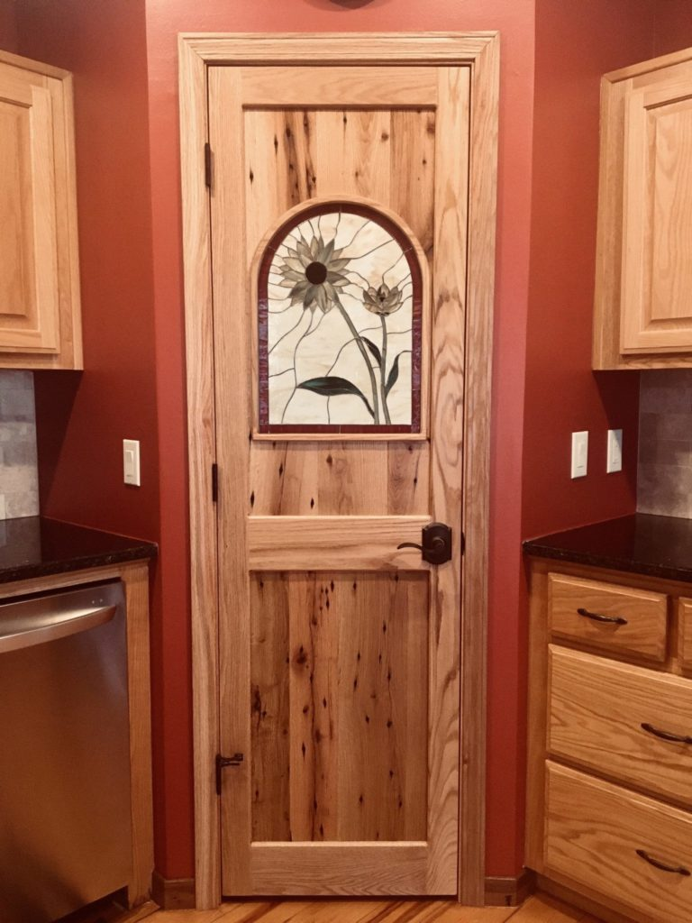 Sunflower Stained Glass Insert For A Pantry Door